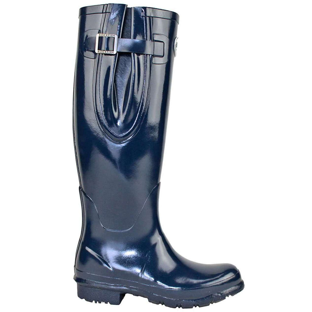 Rockfishwellies.com Rockfish Women's Tall Blue Adjustable Gloss Our Navy Wellington