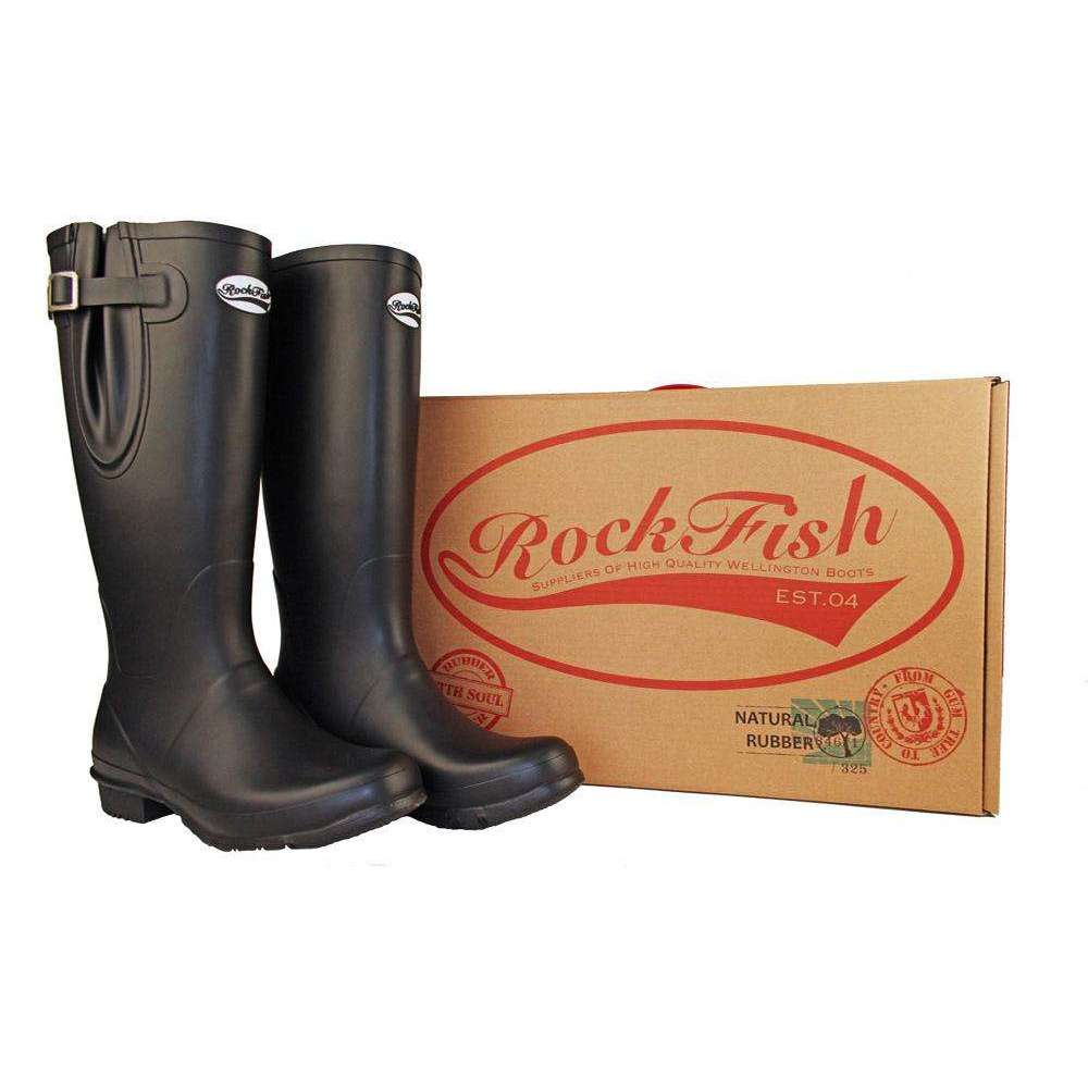 Rockfishwellies.com:Rockfish Women's Tall Neoprene Matt Black Wellington