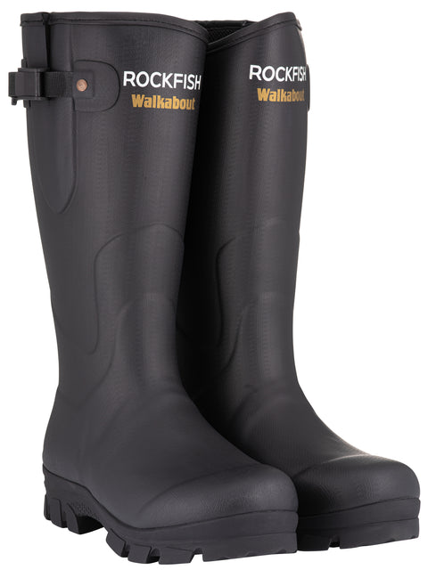 Rockfish Neoprene Lined Black Walkabout Wellington Boots