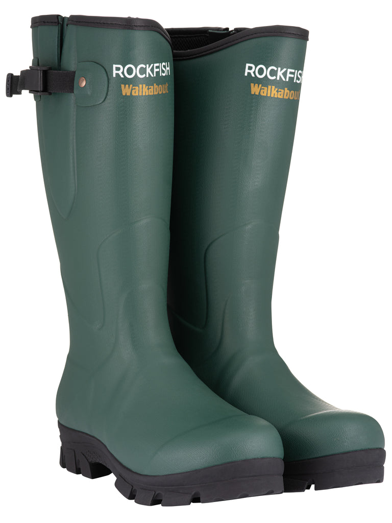 Rockfish Neoprene Lined Green Walkabout Wellington Boots