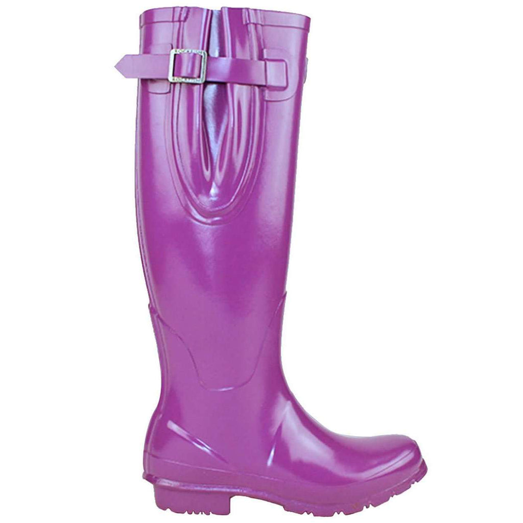 Purple Rockfishwellies.com Rockfish Women's Tall Adjustable Gloss Supaberry Purple Wellington