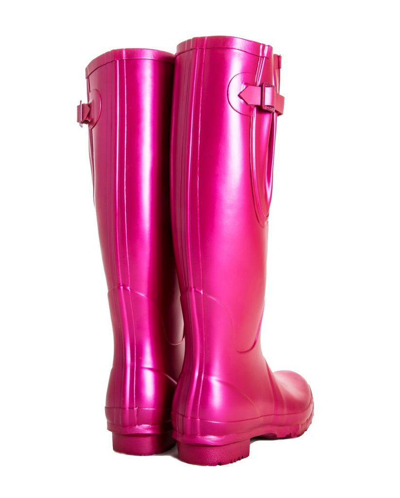 Festival wellies, bright pink, metallic boots