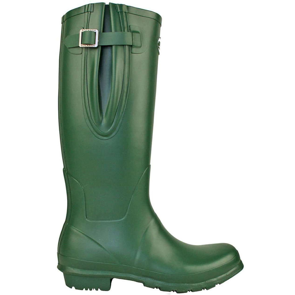 Rockfishwellies.com Womens Adjustable Neoprene Racing Green Wellington
