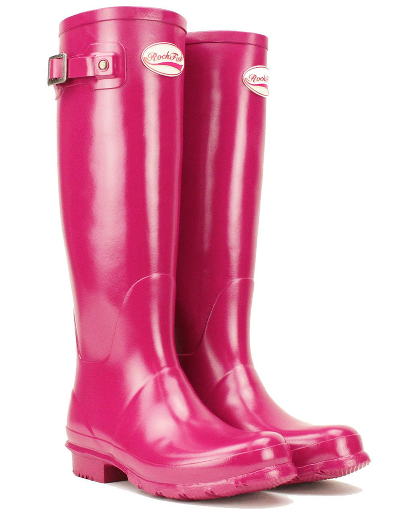 Rockfishwellies.com Women's Tall Gloss Pink Magenta Wellington Boots with  decorative buckle. Images / 1 / 2 / 3 ...