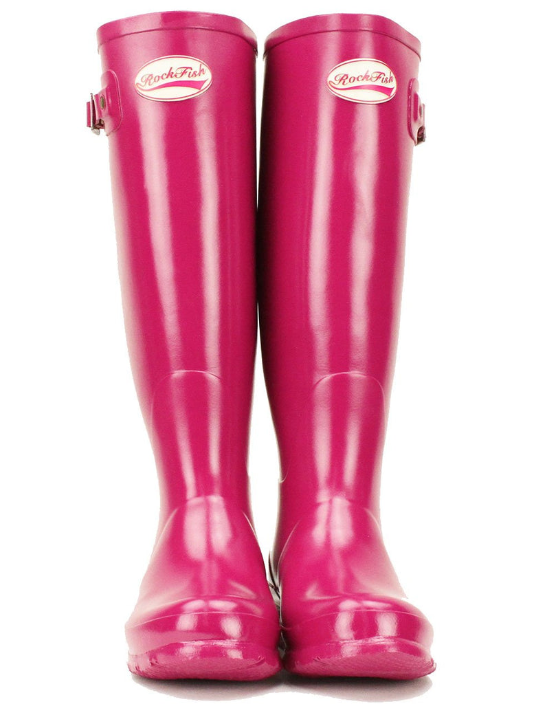 Pink Gloss festival boots from Rockfish, Women's Tall Gloss Magenta Wellies