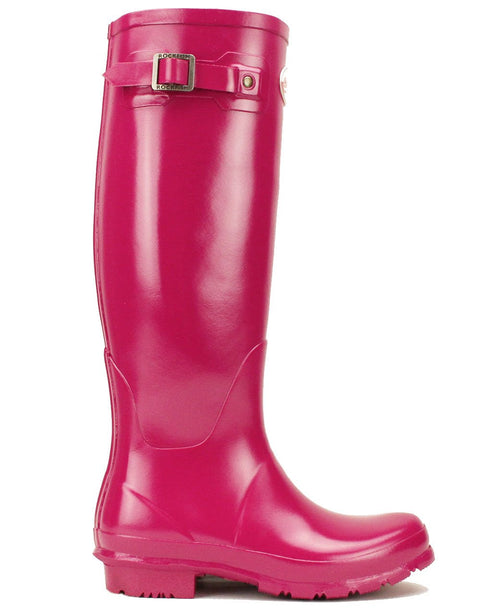Rockfishwellies.com Women's Tall Gloss Pink Magenta Wellington Boots with decorative buckle