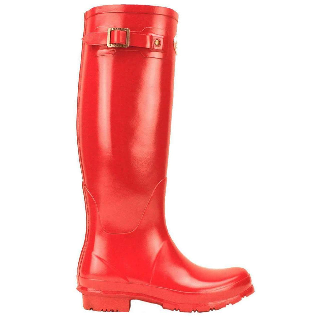 Rockfishwellies.com Rockfish Women's Tall Gloss Samba Red Wellington