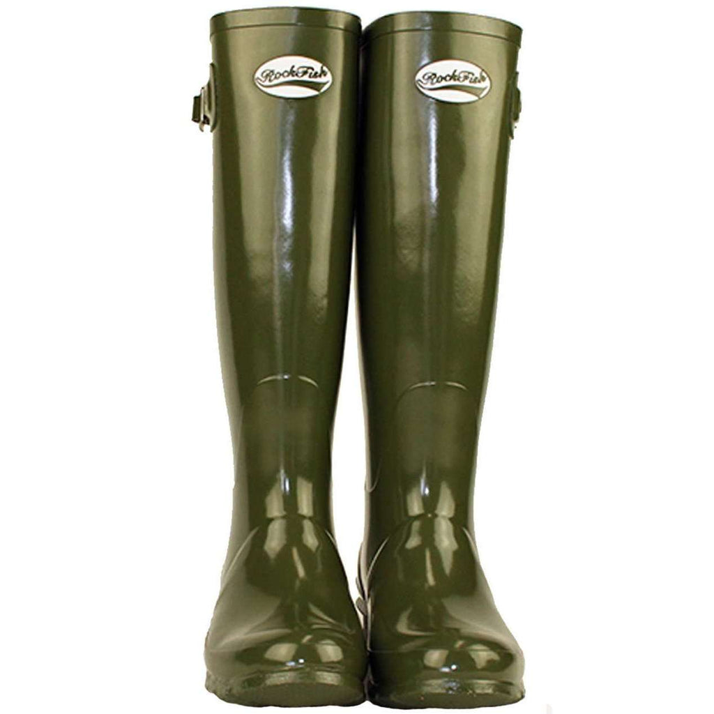Women's Tall Gloss Dark Olive Green Wellington