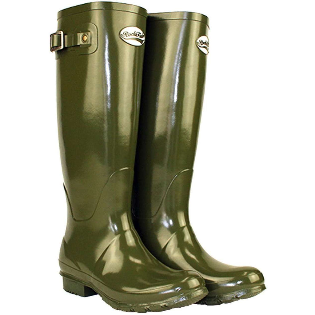 Green Rockfish Women's Tall Gloss Dark Olive Wellington