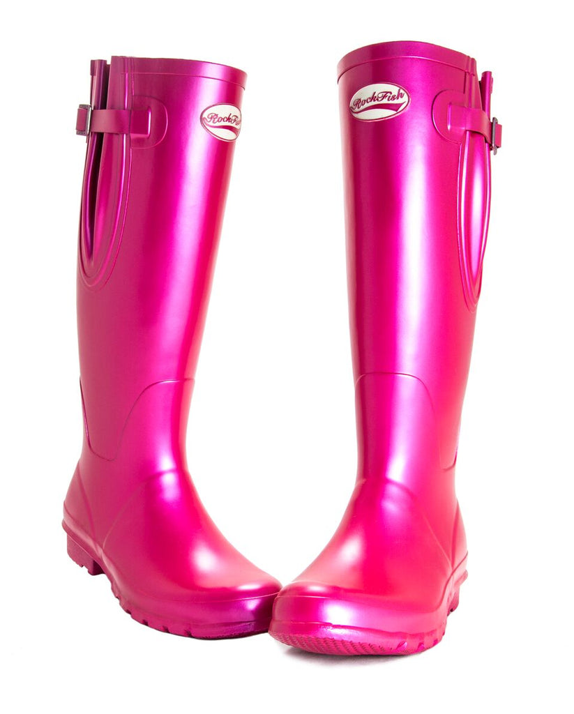 Metallic Pink ladies wellies with bow