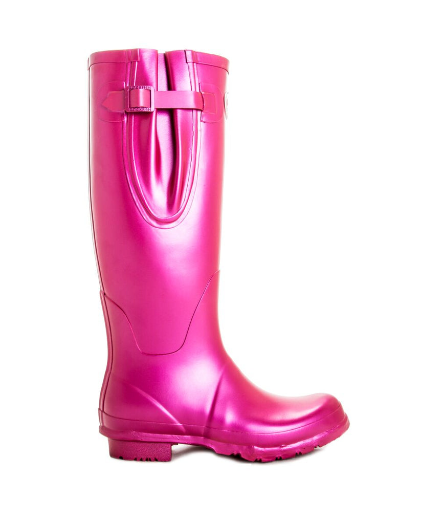 Pink metallic wellington boots