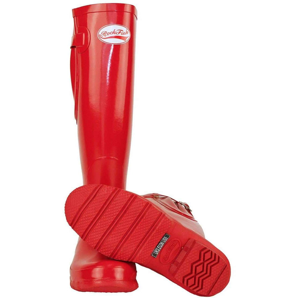 Rockfish Tall Adjustable Gloss Red Boots