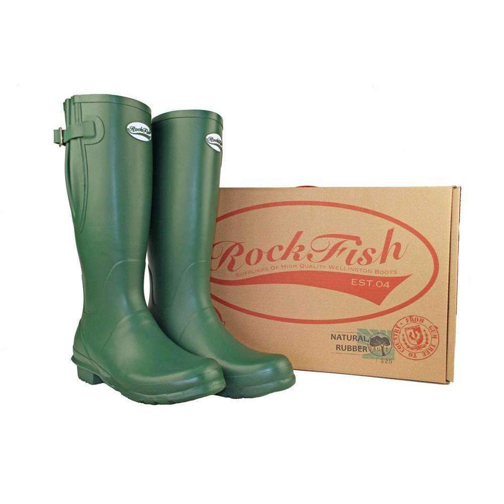 Rockfish Rubber wellingtons, adjustable calf available in green, black, blu, red and champagne.
