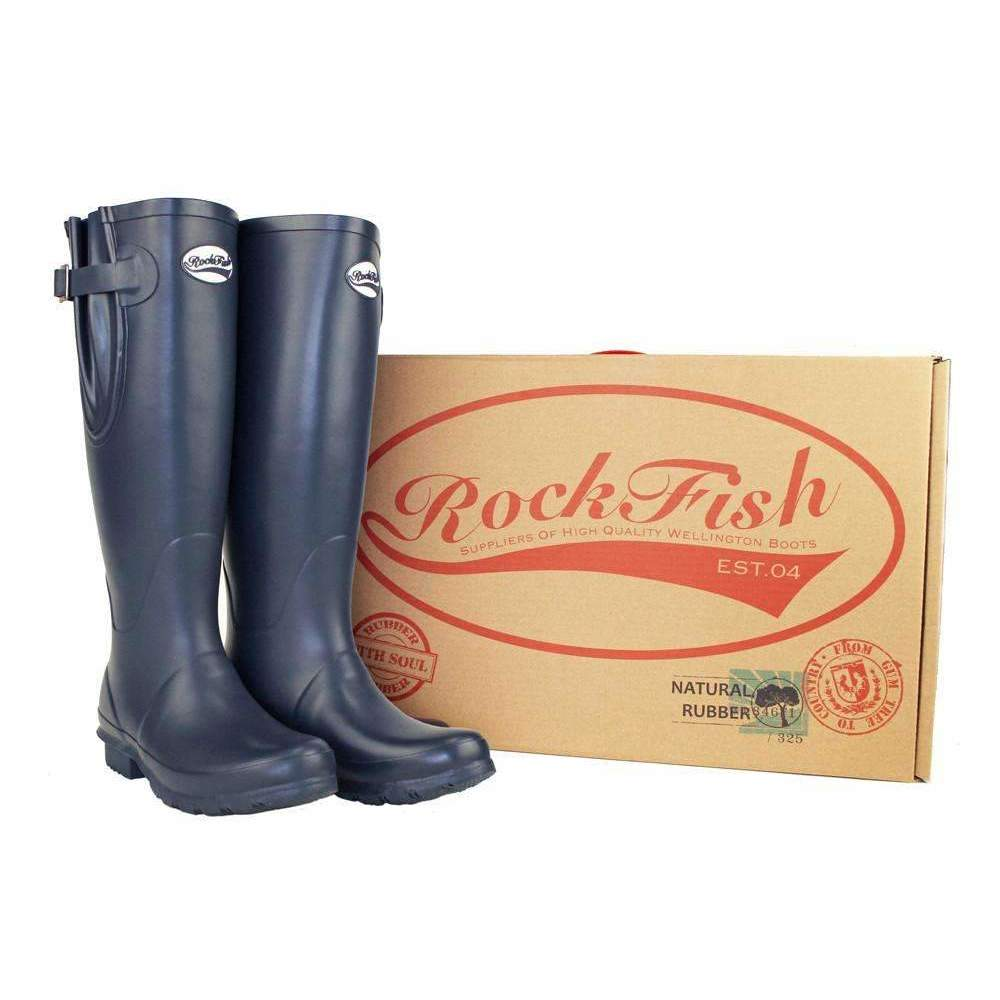 Rockfish Navy Blue Adjustable rubber wellingtons, perfect for the great outdoors.