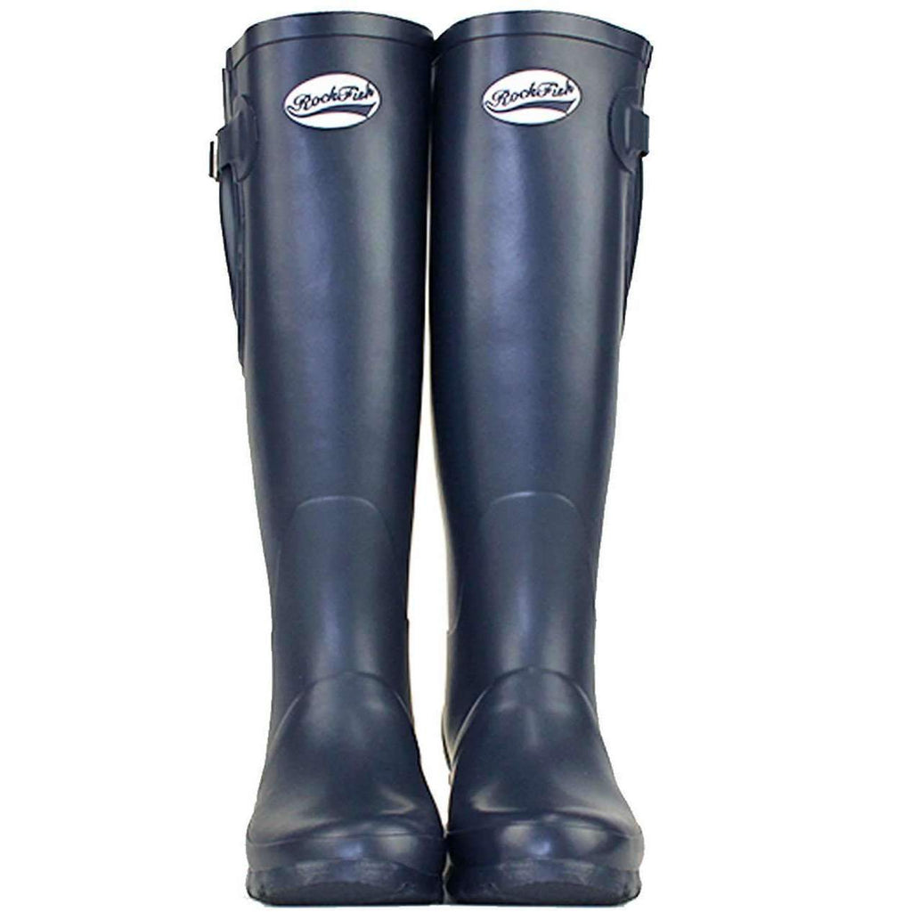 Tall adjustable women's blue wellington boots with neoprene lining