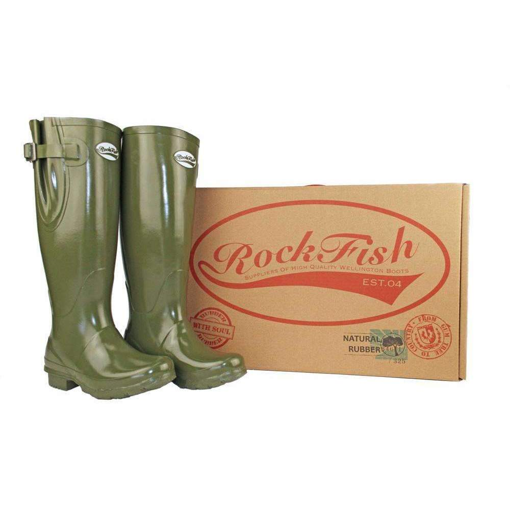 Rockfish Wellies Tall Adjustable Dark Olive wellington boots