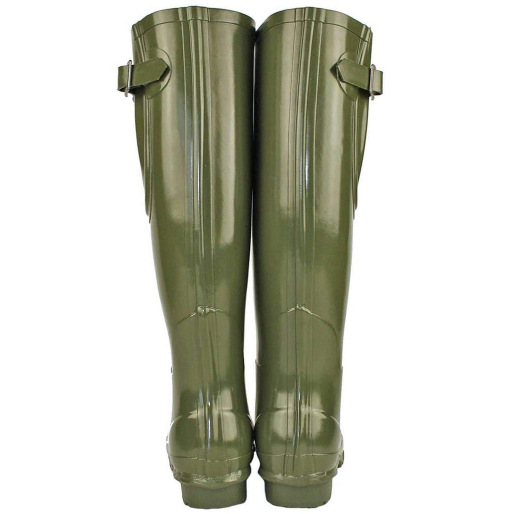Rockfish Tall Wellies Adjustable Gloss Dark Olive Green Boots
