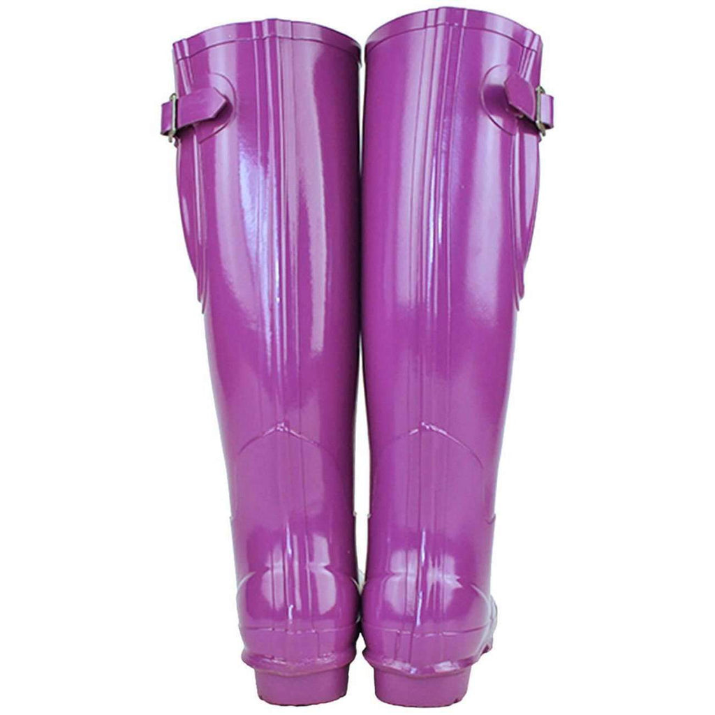 Ladies tall, adjustable gloss supaberry purple gloss boots
