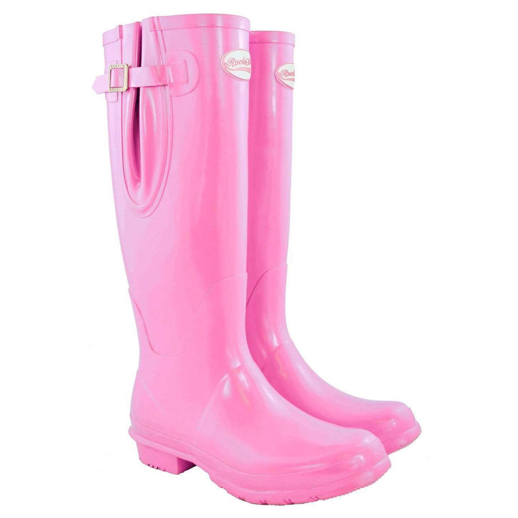 Rockfishwellies.com Pink Tall Adjustable Gloss Supa pink ladies wellies
