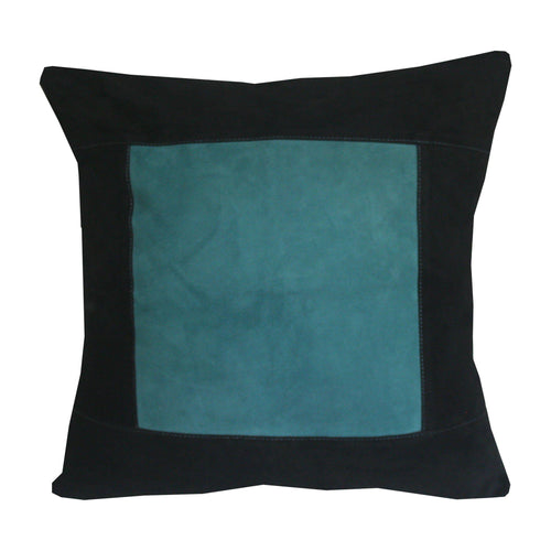 Suede cushion cover with geometric design in black and turquoise - Indimode