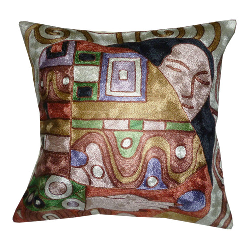 Silk Embroidered Cushion Cover - Klimt inspired