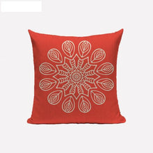 coral red mandala cushion cover
