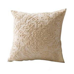 Cream Boho Floral Chain Embroidery Cushion Covers
