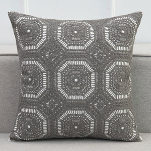 Grey Crochet Style Embroidery Cushion Cover