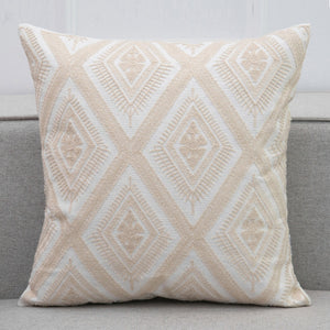 Beige Crochet Style Embroidery Cushion Cover