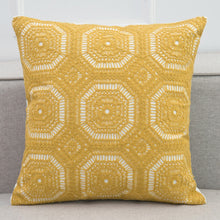 Yellow Crochet Style Embroidery Cushion Cover