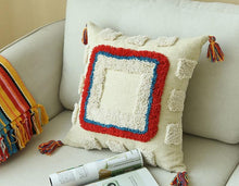 Handmade Moroccan Geometric Cushion Cover With Tassles - Indimode