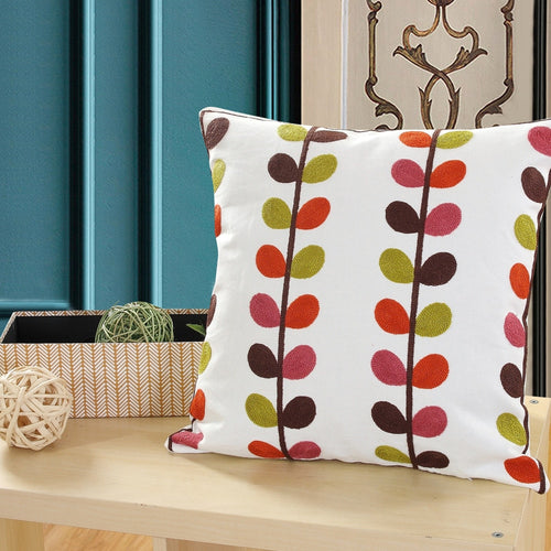 Retro Leaf Embroidery Cushion cover - Indimode