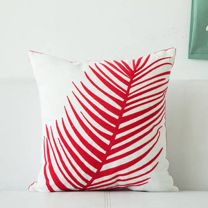 red machine embroidery leaves cushion cover