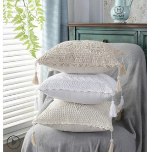 Cotton Crochet Cushion Covers With Tassles (White)