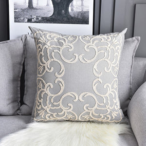 Grey Boho Floral Chain Embroidery Cushion Covers