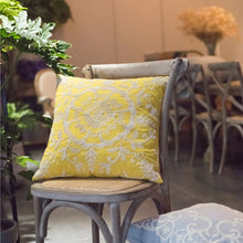 Yellow Boho Floral Chain Embroidery Cushion Covers