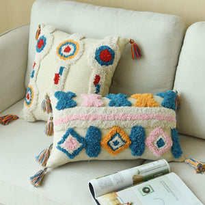 Handmade Moroccan Cushion Cover With Tassles -12in x 20in - Indimode