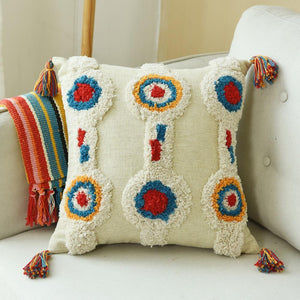 Handmade Moroccan Circle Cushion Cover With Tassles - Indimode