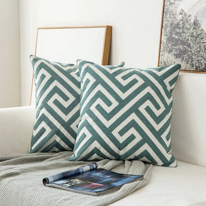 Scandinavian embroidery cushion cover - dark teal - maze