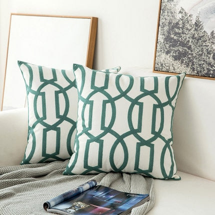 Scandinavian embroidery cushion cover - dark teal - geometric
