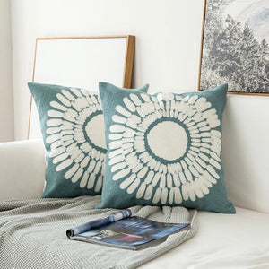 Scandinavian embroidery cushion cover - dark teal - sun flower