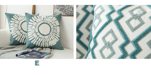 Scandinavian embroidery cushion cover - dark teal - diamond