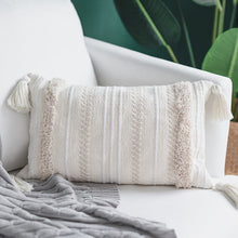 Cream Morroccan Sriped Woven Cushion Cover With Tassels