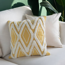 Yellow Morroccan Geometric Woven Cushion Cover With Tassels