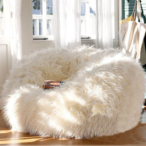 cream faux fur bean bag