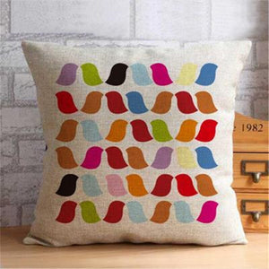 Nordic Cushion Cover with Colourful Birds - 50x50cm or 20x20in