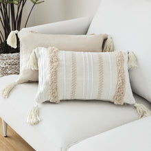 Cream Morroccan Striped Woven Cushion Cover With Tassels