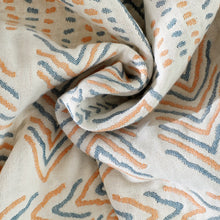 Geometric Boho Cotton Bedspread / Sofa Throw cream blue and yellow