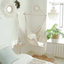 Gorgeous 100% Cotton Hanging Chair With Tassels And Cushion Covers