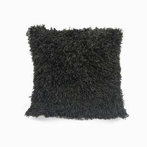 Black Eco Feather / Fur Fluffy Cushion Covers